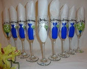 Hand Painted Personalized Bridal Party Champagne Glasses - Gift Wrapping Available