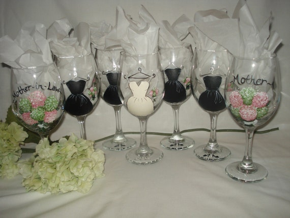 hand painted bridal party wine glasses personalized