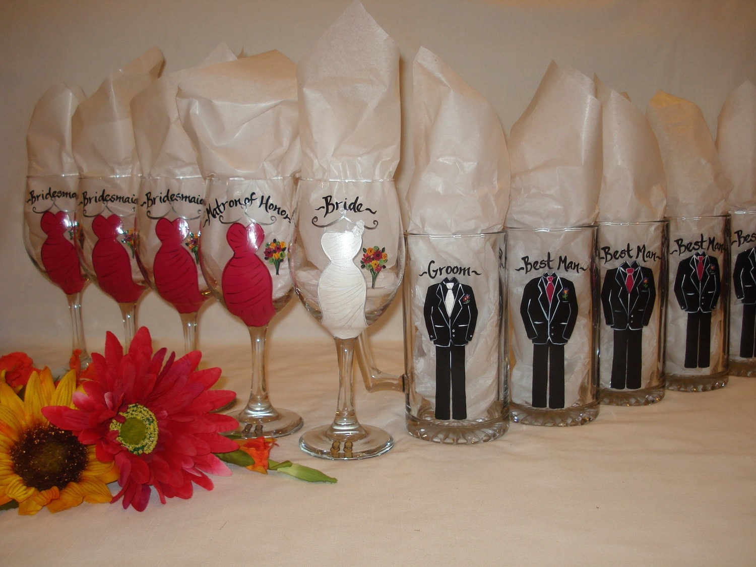 Hand Painted Personalized Bridal Party Wine Glasses CUSTOM
