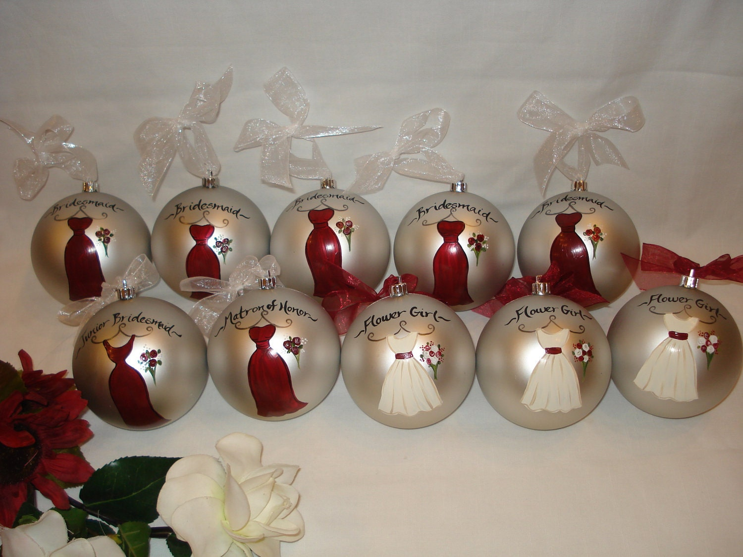 Wedding Gift Ornaments: Hand Painted Personalized Bridesmaid Wedding Ornament GIFT