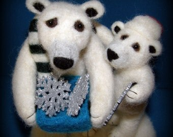 Polar Bears Collecting Snow Flakes Needle Felted Wool Sculpture