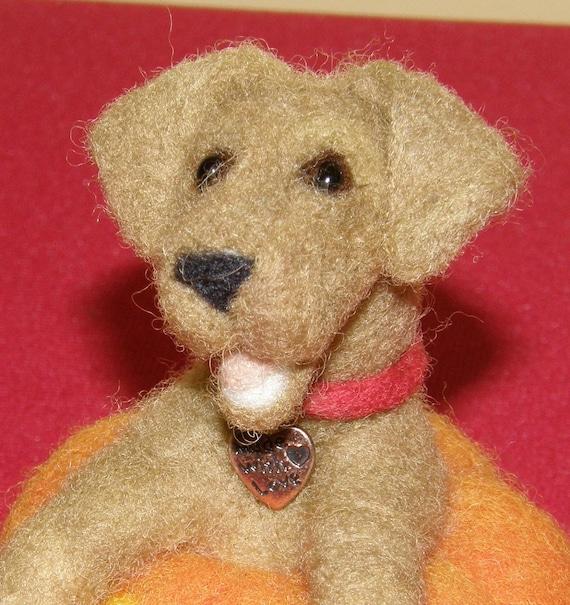 Yellow Labrador Retriever in a Jack O Lantern Needle Felted Wool