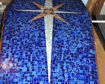 Azur Mosaic Star Dining Room/Coffee Table made by my parents in 1963.  Mosaic Smalti Glass Table