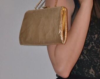 Vintage Gold Lame Clutch Purse, Holiday Evening Bag, Gold Wristlet Bag