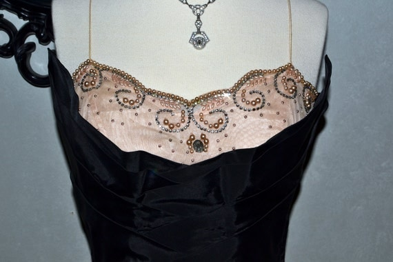 RESERVED///HEATHER MORRIS///Vintage Sweetheart Party Dress, Pink Embellished Lace With Draped Shelf Bust, Rhinestones and Seed Pearls