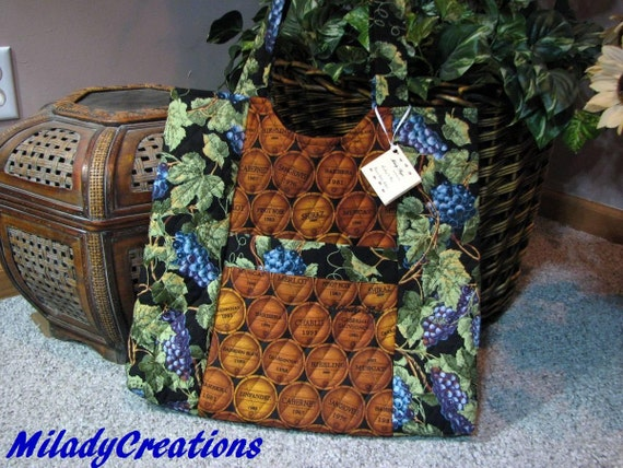 Wine Cask and Grapes Handmade Fabric Large Tote