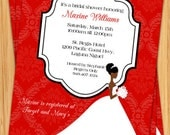African American Bridal Shower Invitation - Print Yourself