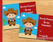 Cowboy Printable Valentines Day Cards for Kids -  DIY