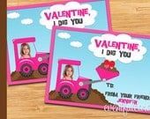 Printable Valentines Day Cards for Kids - Construction Trucks - DIY