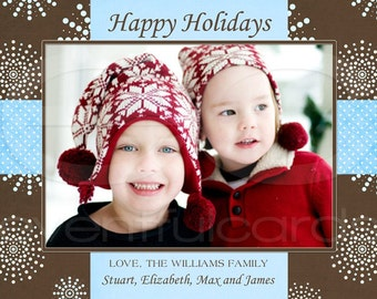 Happy Holidays Photocard with Snowflakes