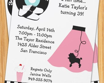Retro 50's Poodle Skirt Party Invitation
