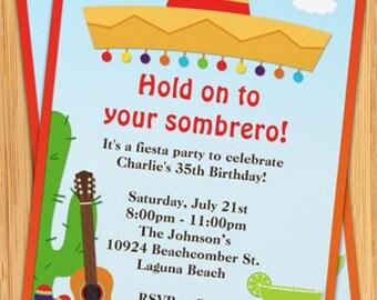 Fiesta Sombrero Party Invitation