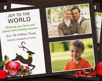 Christmas Card - Reindeer Photo Card - Fully Customizable