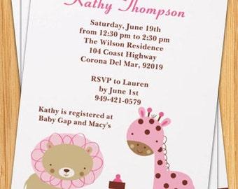 Pink Animals Baby Shower Invitation