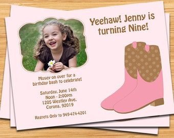 Cowgirl Birthday Party Invitation - Customize with Your Photo