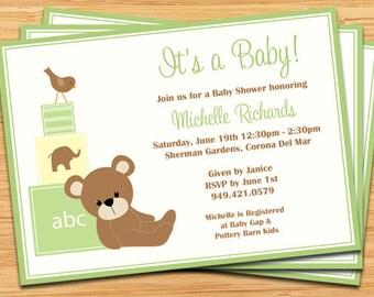 Green Teddy Bear Baby Shower Invitation - Baby Blocks and Bird