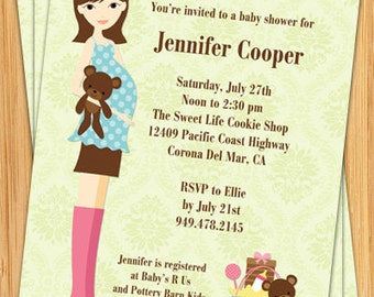Pink and Blue Customizable Baby Shower Invitation