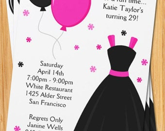 Pink and Black Party Invitation - Zebra Print Dress and Balloons