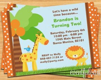 Jungle Animal Kids Birthday Party Invitation