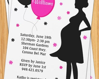 Pink and Black Baby Shower Invitation