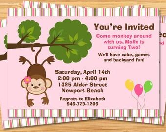 Monkey Birthday Party Invitation