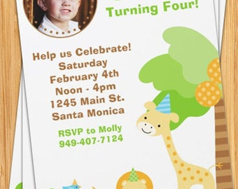 Jungle Animals Photo Birthday Invitation