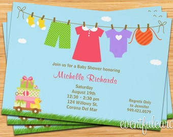 Baby Girl Laundry Baby Shower Invitation