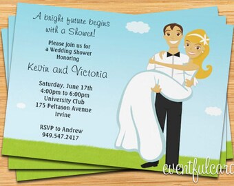 Bridal Shower Invitation - Modern Couple Silhouette