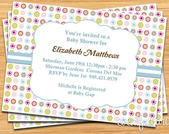 Blue Dots Baby Shower Invitation