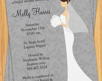 Damask Bridal Shower Invitation