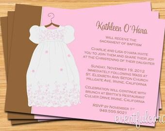 Girls Baptism Christening Invitation - Fully Customizable