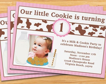 Milk and Cookies Birthday Party Invitation for Girl