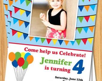 Balloon Birthday Party Invitation with Photo