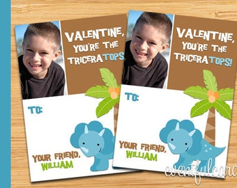 Dinosaur Printable Valentines Day Cards for Kids -  DIY