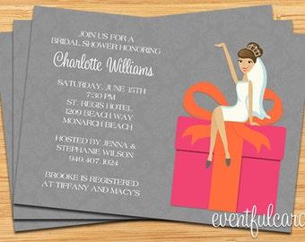Pink and Orange Bridal Shower Invitation