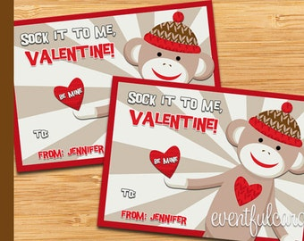 Sock Monkey Valentine - Printable Valentines Day Cards