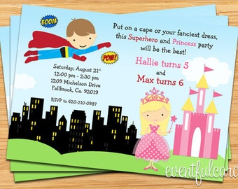 Superhero and Princess Birthday Party Invitation - Printable