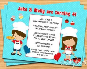 Cupcake and Pizza Birthday Party Invitation