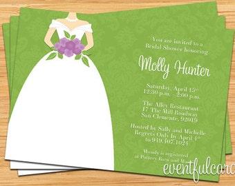 Purple and Green Damask Bridal Shower Invitation