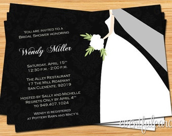 African american bridal shower invitation for Black and white bridal shower invitations