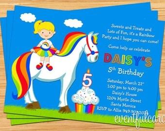 Rainbow Brite Inspired Birthday Party Invitation - Printable