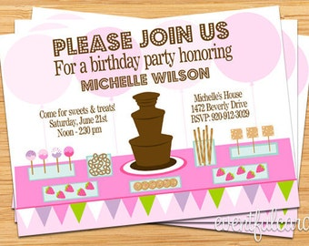 Chocolate Fountain Party Invitation - For any Occasion - Digital File