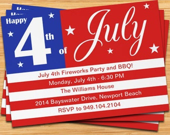 4th of July Party Invitation - US Flag - 5x7 Printable