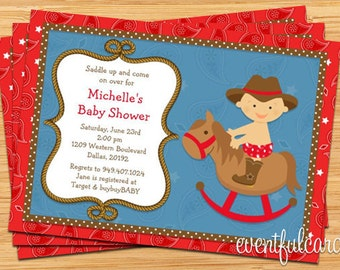 Western Cowboy Baby Shower Invitation - 5x7 - Printable