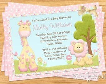 Pink Animals Baby Shower Invitation (Blue for Boys)