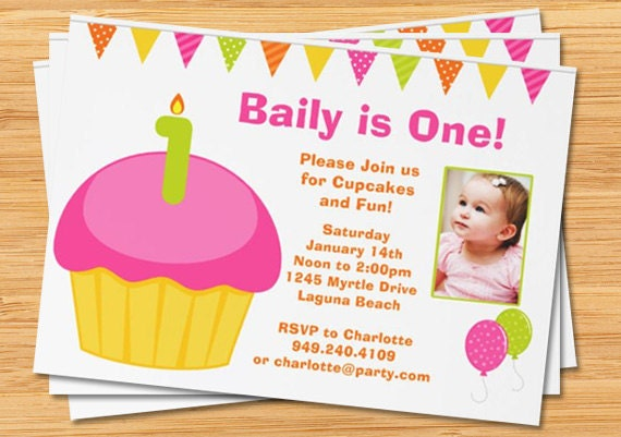 1st birthday party invitations with photo, Birthday invitations