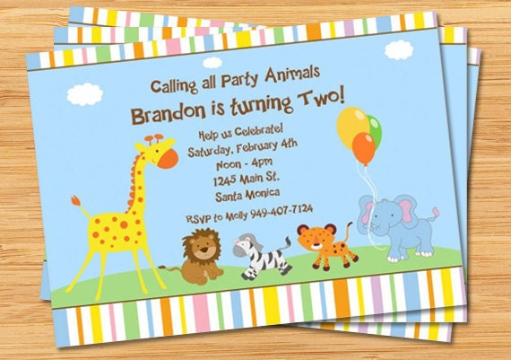 animals birthday party or baby shower invitation, Baby shower invitation