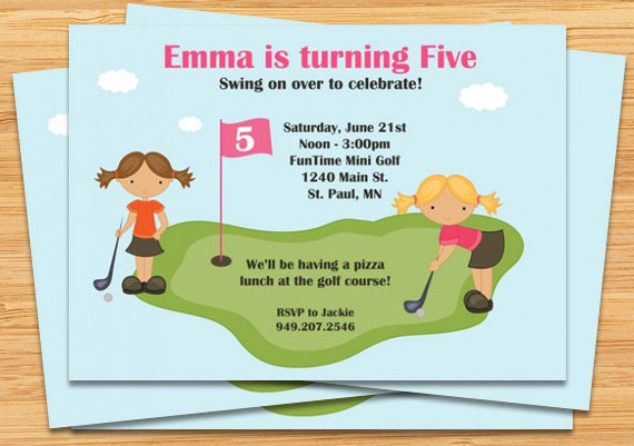Miniature Golf Birthday Party Invitation Girls – Golf Party Invites