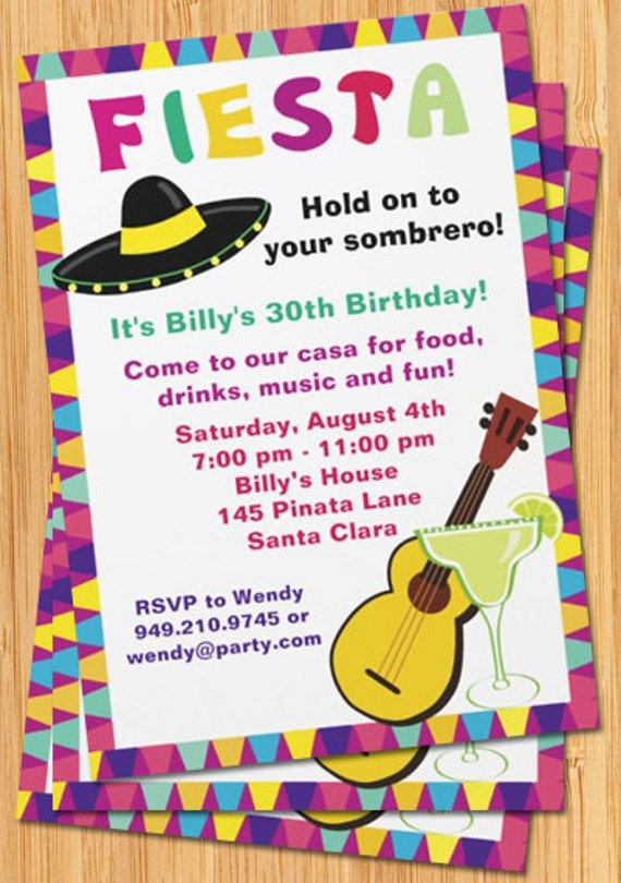 fiesta birthday party invitation, Birthday invitations