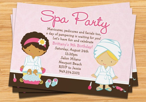 spa party kids birthday invitation by eventfulcards on etsy, Birthday invitations